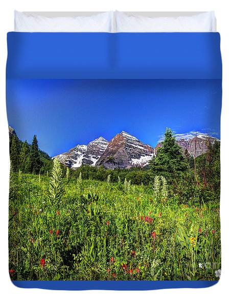 Flower-filled Meadow At Maroon Bells Duvet Cover by Jean Hutchison
