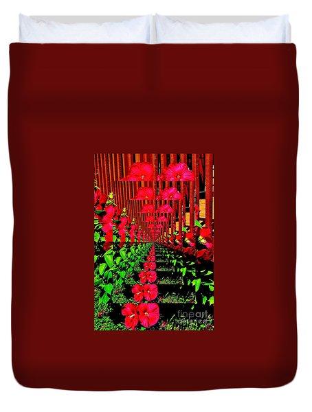 Duvet Cover featuring the digital art Flower Garden Abstract by Marsha Heiken