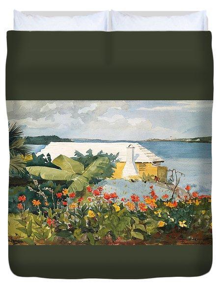 Flower Garden And Bungalow Duvet Cover