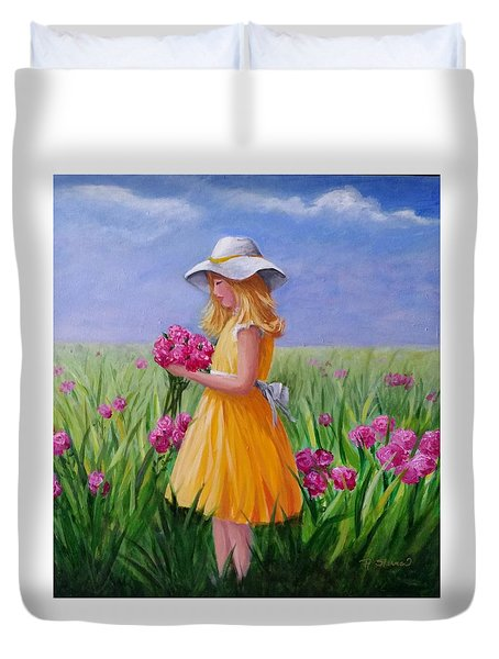 Flower Girl Duvet Cover