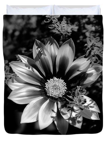 Flower Glow Black And White Duvet Cover