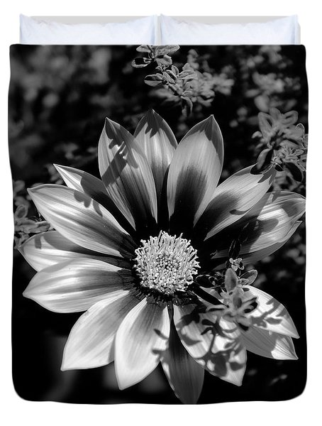 Duvet Cover featuring the photograph Flower Glow Black And White by Ron White
