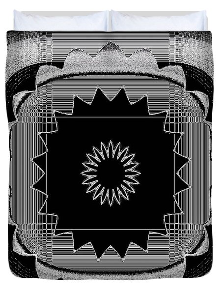 Duvet Cover featuring the digital art Flower In Black And White by Carolyn Repka
