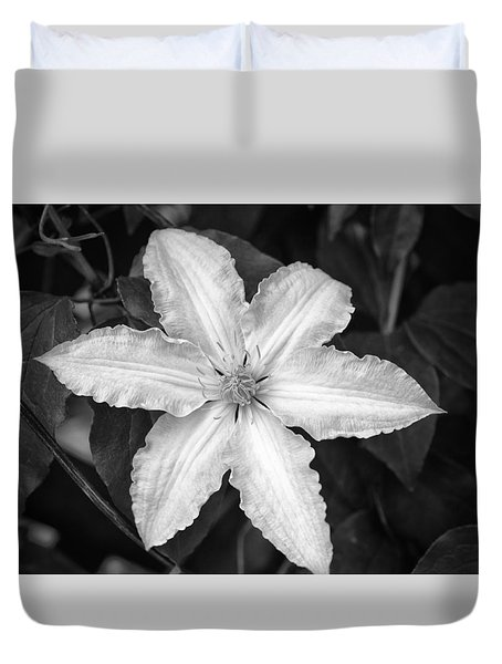 Flower In Black And White Duvet Cover