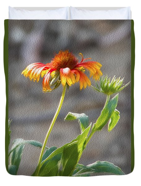 Duvet Cover featuring the photograph Flower In Bloom by Pravine Chester