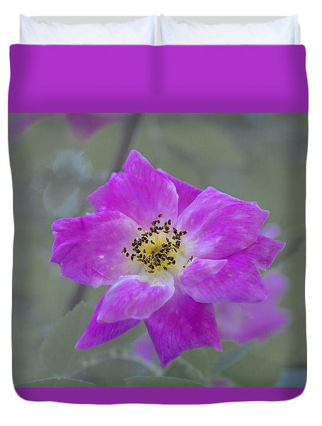 Duvet Cover featuring the photograph Flower In Pink by Tom Singleton