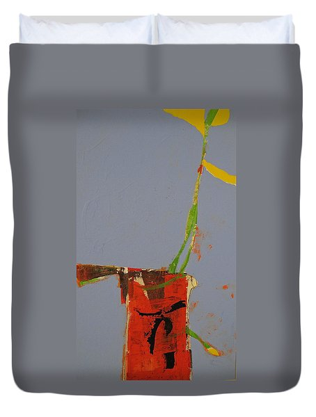 Duvet Cover featuring the painting Flower In Pitcher- Abstract Of Course by Cliff Spohn