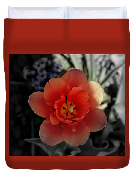 Flower In Red Duvet Cover