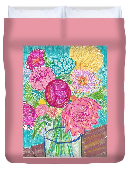Flower In Vase Duvet Cover