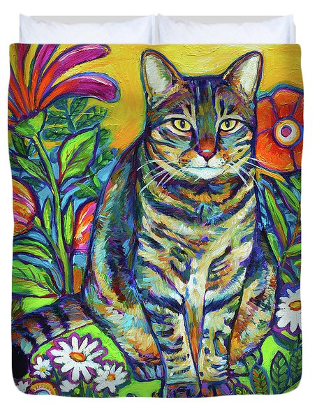 Duvet Cover featuring the painting Flower Kitty by Robert Phelps