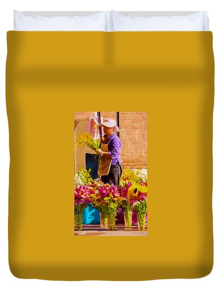 Flower Lady Duvet Cover