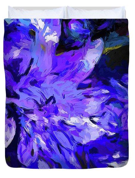 Flower Lavender Lilac Cobalt Blue Duvet Cover