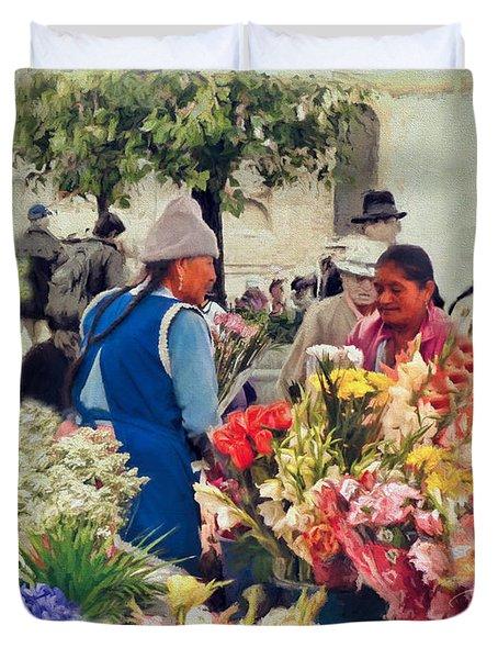Flower Market - Cuenca - Ecuador Duvet Cover