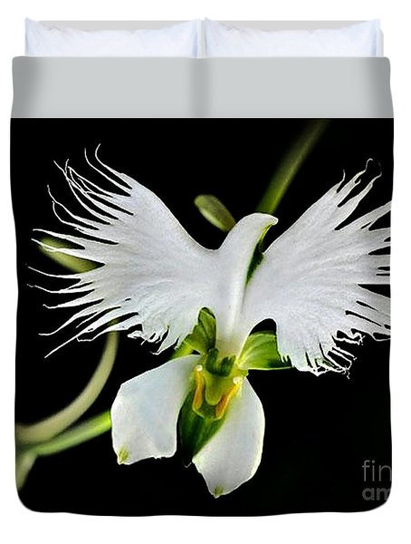 Flower Oddities - Flying White Bird Flower Duvet Cover