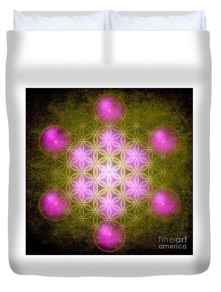 Flower Of Life In Green Duvet Cover