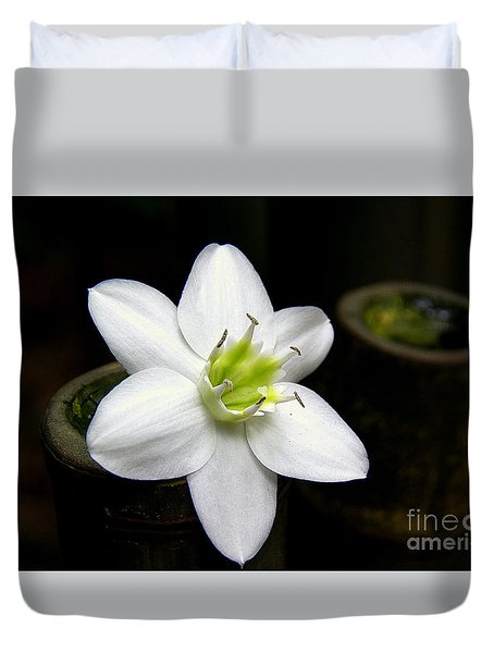 Duvet Cover featuring the photograph Flower On Bamboo by Lisa L Silva