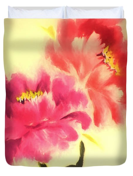 Flower Painting In Watercolor Duvet Cover