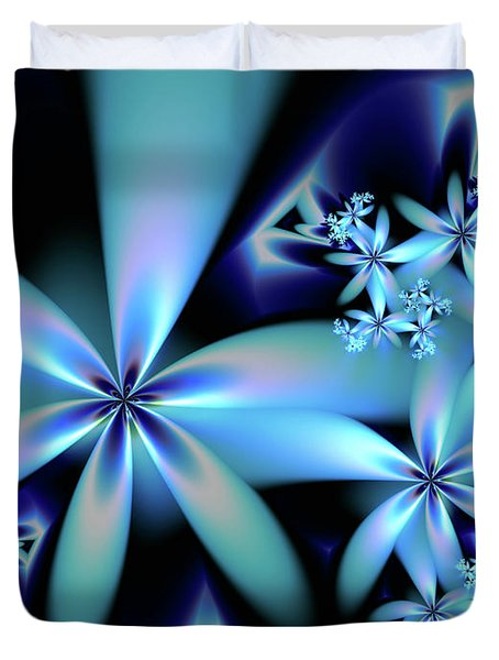 Flower Power Blue Duvet Cover