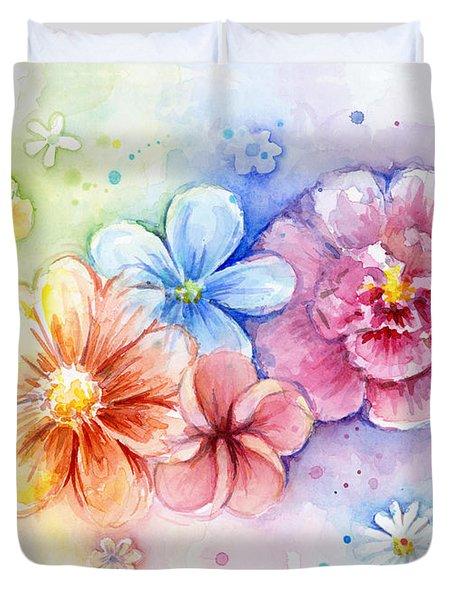 Flower Power Watercolor Duvet Cover