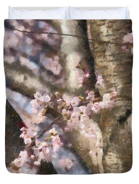 Flower - Sakura - Spring Blossom Duvet Cover by Mike Savad