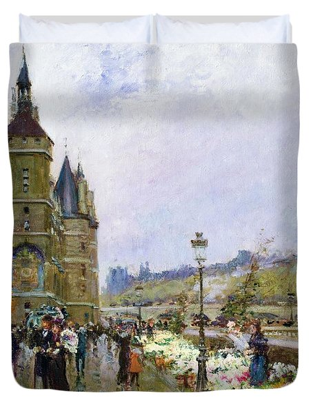 Flower Sellers By The Seine Duvet Cover by Georges Stein