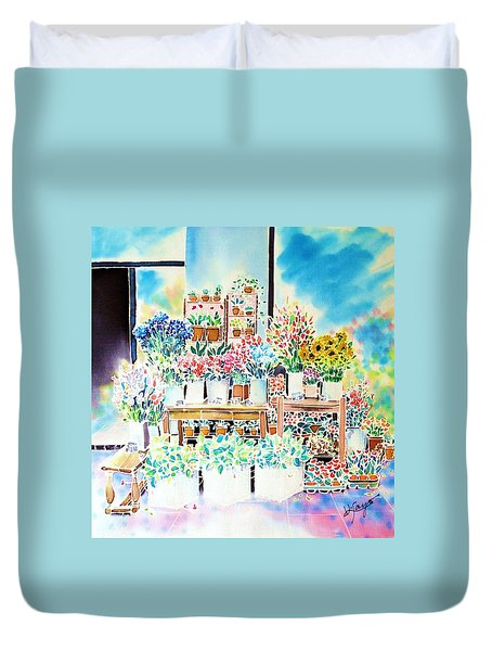 Flower Shop In Paris Duvet Cover