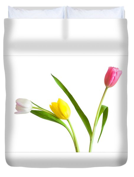 Duvet Cover featuring the photograph Flower Shop Wall Art - Colorful Tulips by Ram Vasudev