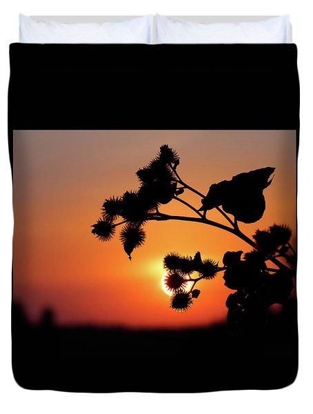Flower Silhouette Duvet Cover by Teemu Tretjakov