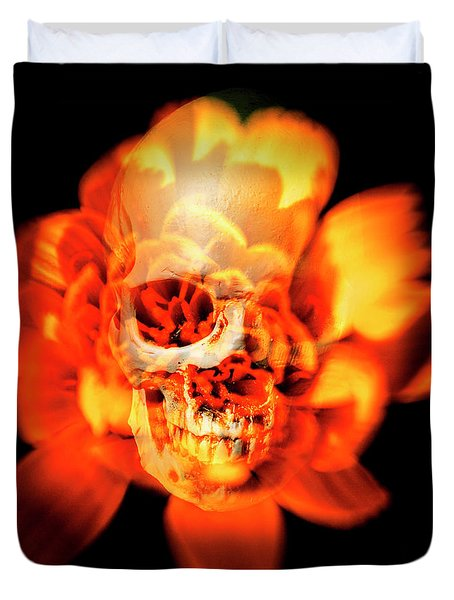Flower Skull Duvet Cover
