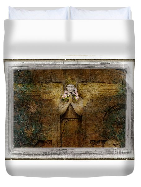 Duvet Cover featuring the photograph Flower Spes Angel by Craig J Satterlee