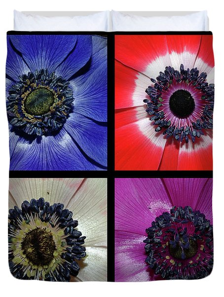 Flower Square Montage - Anemone Duvet Cover by Robert Shard