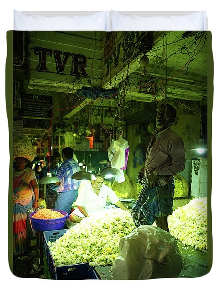 Duvet Cover featuring the photograph Flower Stalls Market Chennai India by Mike Reid