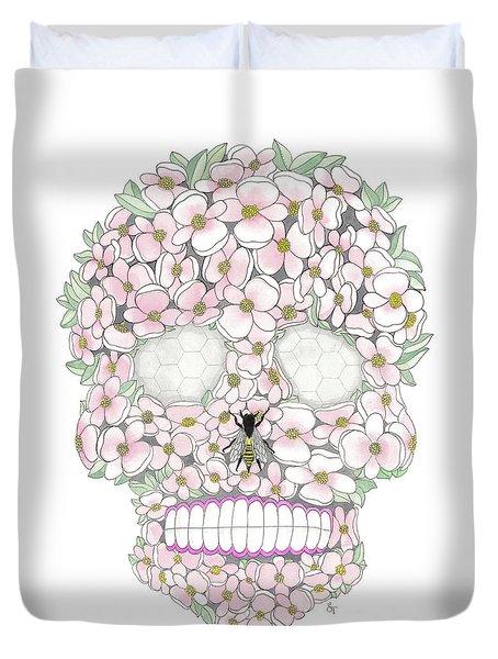 Flower Sugar Skull Duvet Cover