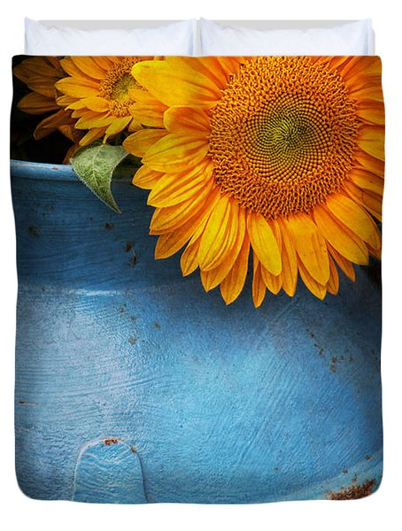 Flower - Sunflower - Little Blue Sunshine  Duvet Cover by Mike Savad
