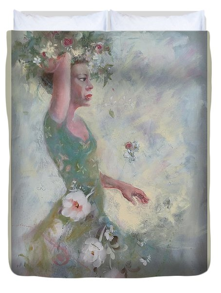 Flower Vender Duvet Cover by Gertrude Palmer