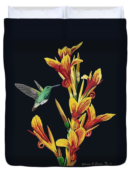 Flower With Bird Duvet Cover