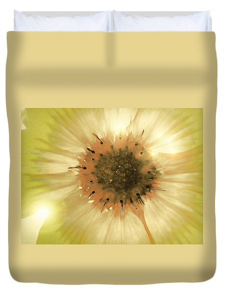 Duvet Cover featuring the photograph Flower World by Kathy Bassett