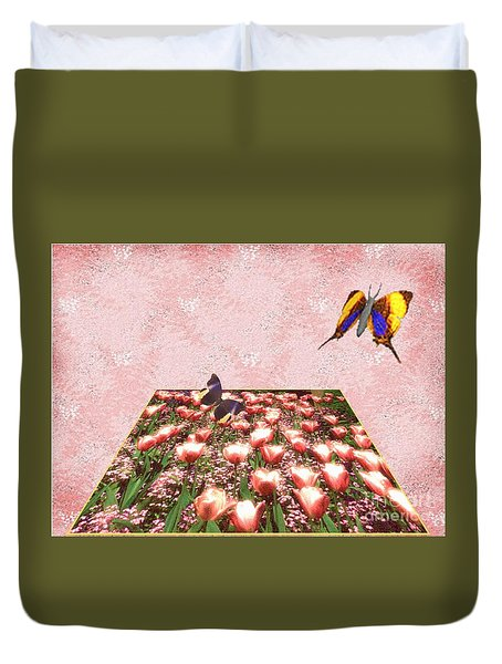 Flowerbed Of Tulips Duvet Cover