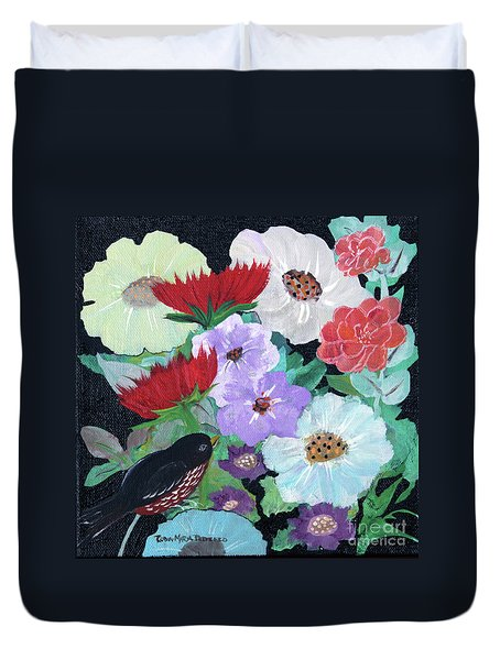 Duvet Cover featuring the painting Floweret by Robin Maria Pedrero