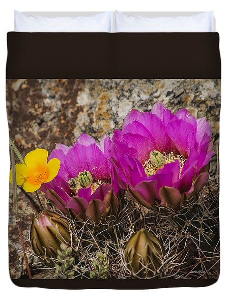 Flowering Cactus Duvet Cover