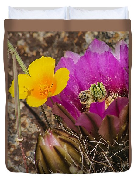 Flowering Cactus With Bee Duvet Cover