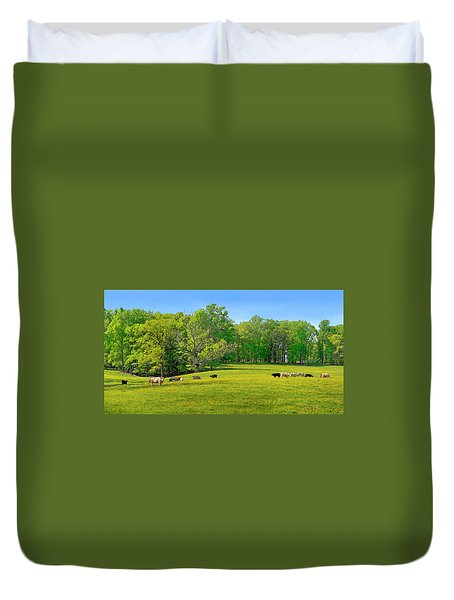 Flowering Cow Pasture Duvet Cover