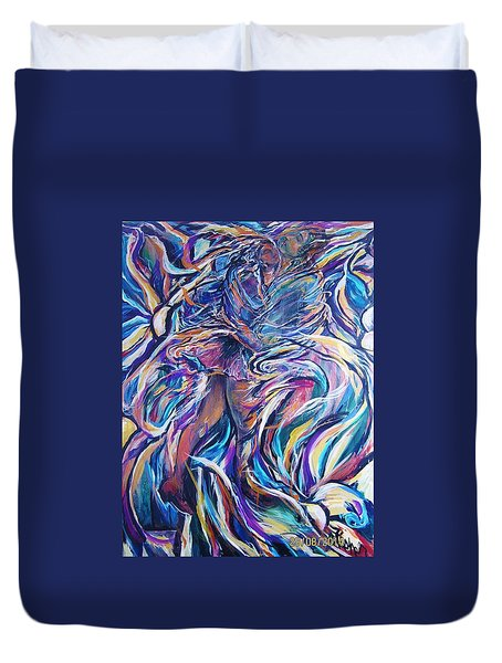 Duvet Cover featuring the painting Flowering by Dawn Fisher