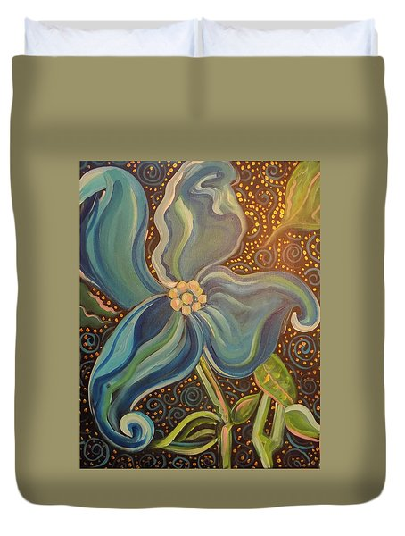 Duvet Cover featuring the painting Flowering Dogwood by John Keaton