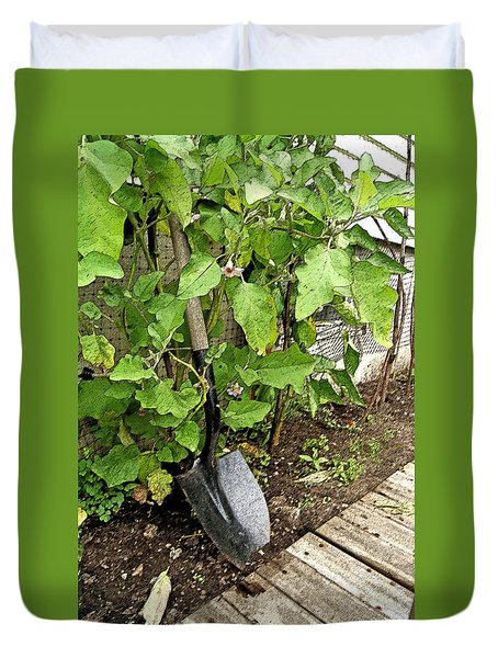 Flowering Eggplant W Shovel Duvet Cover