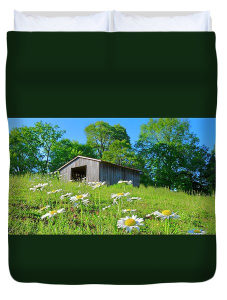 Flowering Hillside Meadow Duvet Cover