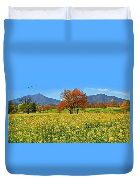 Flowering Meadow, Peaks Of Otter,  Virginia. Duvet Cover