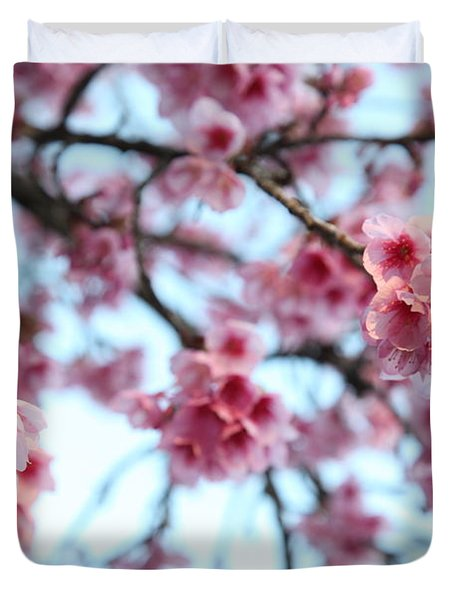 Duvet Cover featuring the photograph flowering of the almond tree, Jerusalem by Yoel Koskas