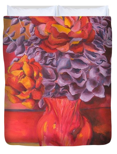 Flowering Orange Duvet Cover by Lisa Boyd