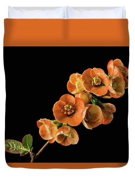 Duvet Cover featuring the photograph Flowering Quince Orange by Mary Jo Allen